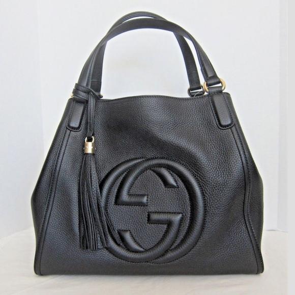 1296628481b Gucci Handbags - New Gucci Soho Medium Bag Black Pebbled Leather
